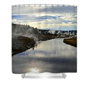 Morning In Upper Geyser Basin In Yellowstone National Park Shower Curtain