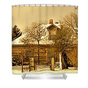 Morning Light Log House Shower Curtain
