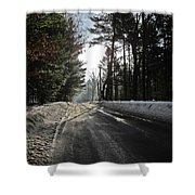 Morning Light On The Road Shower Curtain