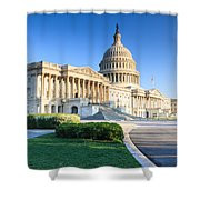 Powerful - Washington Dc Morning Light On Us Capitol Shower Curtain