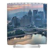 Morning Light Over The City Of Bridges Shower Curtain