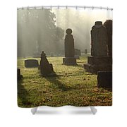 Morning Mist At The Cemetery Shower Curtain