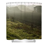 Morning Mist Over Field And Shower Curtain by Jim Craigmyle