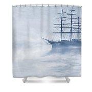Morning Mists Cyanotype Shower Curtain