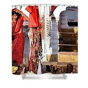 Morning Offerings - Narmada River Source - Amarkantak India Shower Curtain