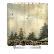 Morning On The Coast Shower Curtain by Darren Fisher