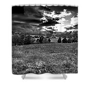 Morning On The Farm Two Bw Shower Curtain