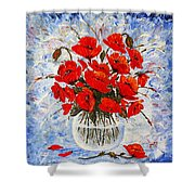 Morning Red Poppies Original Palette Knife Painting Shower Curtain