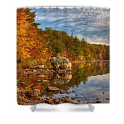 Morning Reflection Of Fall Colors Shower Curtain