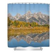 Morning Reflection Of The Teton Range Shower Curtain