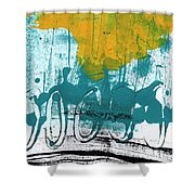 Morning Ride Shower Curtain by Linda Woods
