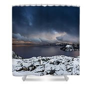 Morning Storm At Crater Lake Shower Curtain