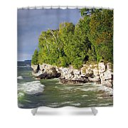 Morning Sun At Cave Point Shower Curtain