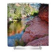 Morning Sun On Oak Creek - Slide Rock State Park Sedona Arizona Shower Curtain