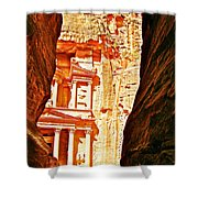 Morning View Of The Treasury From The Gorge In Petra-jordan  Shower Curtain