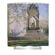 Morning Visitors To The Albert Memorial Oil On Canvas Shower Curtain