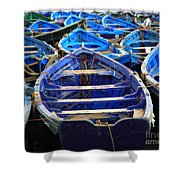 Moroccan Blue Fishing Boats Shower Curtain