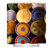 Moroccan Pottery On Display For Sale Shower Curtain