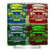Morris Car In Pop Art Shower Curtain