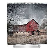 Morris County Red Barn In Snow Shower Curtain