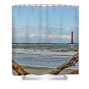 Morris Island Light With Driftwood Shower Curtain