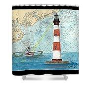 Morris Island Lighthouse Sc Nautical Chart Map Art Shower Curtain