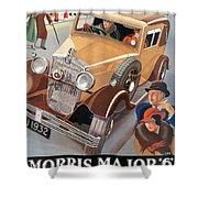 Morris Major 6 - Vintage Car Poster Shower Curtain