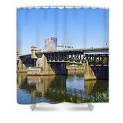 Morrison Bridge Portland Oregon Shower Curtain