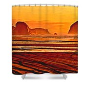 Morro Rock Painting Shower Curtain