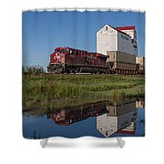 Train Reflection At Mortlach Saskatchewan Grain Elevator Shower Curtain