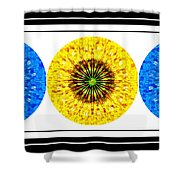 Mosaic Blue Circles With Yellow Shower Curtain