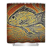 Mosaic Goldfish In Charcoal Shower Curtain