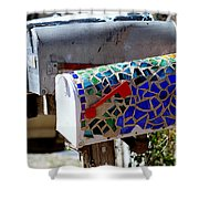 Mosaic Mailbox On The Turquoise Trail In New Mexico Shower Curtain