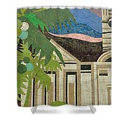 Mosaic Of Church With Palm Tree Shower Curtain