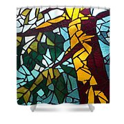 Mosaic Stained Glass - First Tree Shower Curtain by Catherine Van Der Woerd