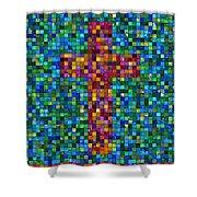 Mosaic Tile Cross Shower Curtain
