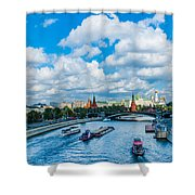 Moscow Kremlin And Busy River Traffic Shower Curtain