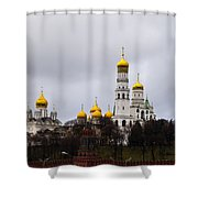 Moscow Kremlin Cathedrals - Square Shower Curtain