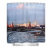 Moscow Kremlin In Winter Evening - Featured 3 Shower Curtain