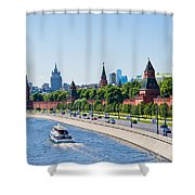 Moscow River And Kremlin Embankment In Summer - Featured 3 Shower Curtain