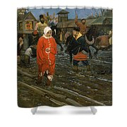 Moscow Street On A Public Holiday Shower Curtain