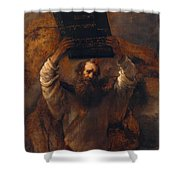 Moses With The Ten Commandments Shower Curtain
