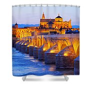 Mosque-cathedral And The Roman Bridge In Cordoba Shower Curtain