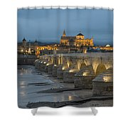 Mosque Cathedral Of Cordoba Also Called The Mezquita And Roman Bridge Shower Curtain