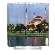 Mosque Lit Up At Dusk, Blue Mosque Shower Curtain