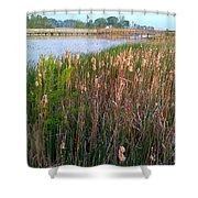 Moss Landing Washington North Carolina Shower Curtain by Joan Meyland