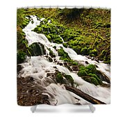Mossy River Flowing. Shower Curtain
