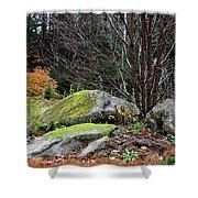 Mossy Rocks Garden Shower Curtain