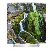 Mossy Waterfall At Snow Lake Shower Curtain