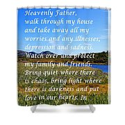 Most Powerful Prayer With Irises Shower Curtain